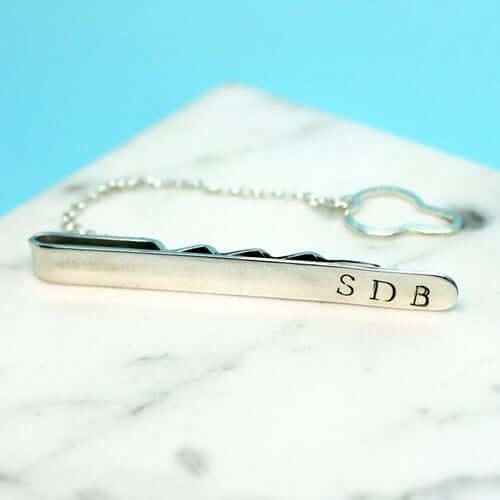 Personalised clip tie silver