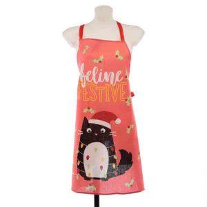 festive christmas cat apron